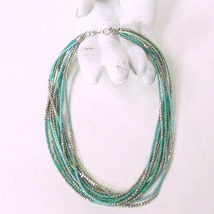 Vintage Jewelry - Turquoise & Silver Heavy Strands Beads Necklace